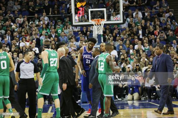 Players are seen at the end of the NBA game between Boston Celtics and Philadelphia 76ers at the O2 Arena in London England on January 11 2018