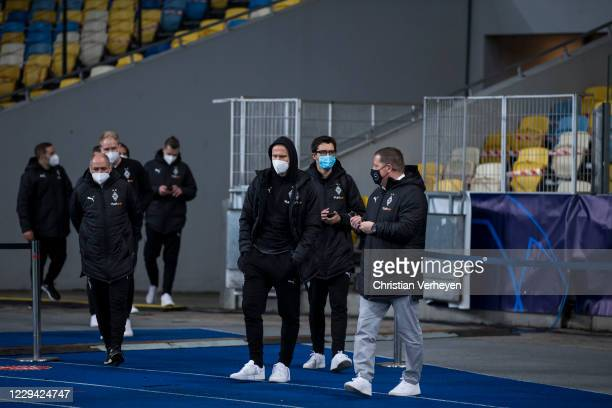 Players are seen during a site visit of Borussia Moenchengladbach ahead the Group B UEFA Champions League match between Shakhtar Donetsk and Borussia...