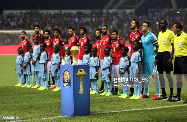 Players are seen during the 2017 Africa Cup of Nations final football match between Egypt and Cameroon at the d'Angondje Stadium in Libreville Gabon...