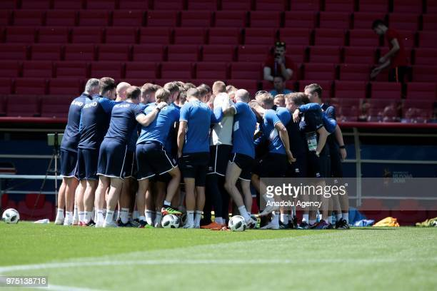 Players are seen during the Iceland national football team training session at the Spartak Stadium ahead of the 2018 FIFA World Cup in Moscow Russia...