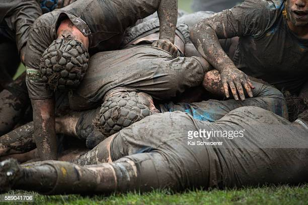 Players are seen in a ruck during the Crusaders Secondary Schools UC Championship Semi Final match between Christs College and Shirley BHS at CC Uper...