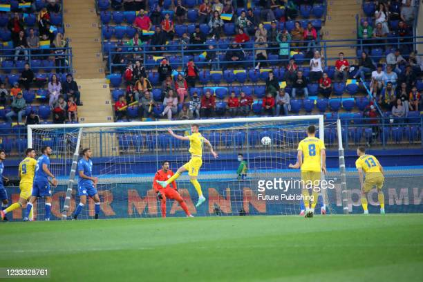 Players are seen in action during the friendly match between the national teams of Ukraine and Cyprus which resulted in a home win 4:0 at the...