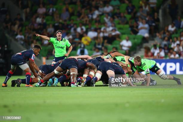 Players are seen in the scrum during the round three Super Rugby match between the Rebels and the Highlanders at AAMI Park on March 1 2019 in...