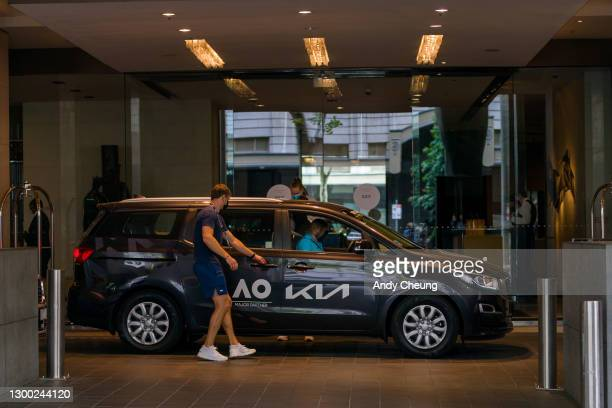 Players are seen taking Australian Open transport at the Grand Hyatt Hotel in Melbourne on February 04, 2021 in Melbourne, Australia. Victoria has...