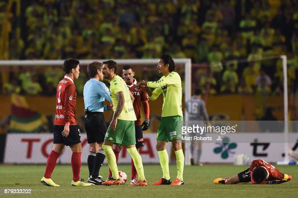 Players argue during the JLeague J1 Promotion PlayOff semi final match between Nagoya Grampus and JEF United Chiba at Paloma Mizuho Stadium on...