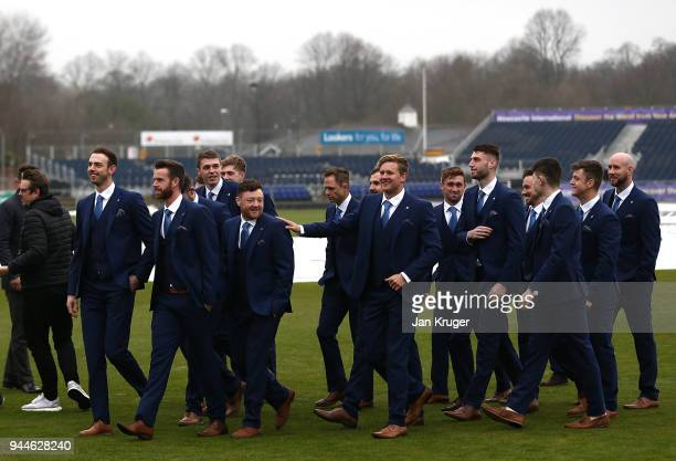 Players arrive during the Durham CCC Photocall at The Riverside on April 11 2018 in ChesterleStreet England