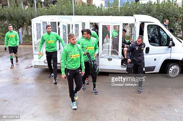 Players arrive for day five of the Borussia Moenchengladbach training camp on January 12 2015 in Belek Turkey