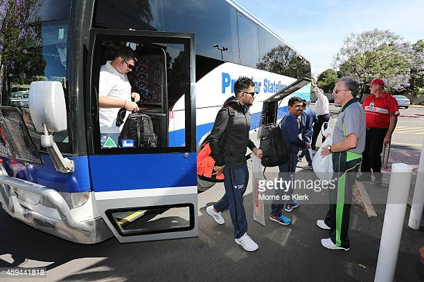 Players arrive in the team bus before a training session for the Indian cricket team at Gliderol Stadium on November 23 2014 in Adelaide Australia