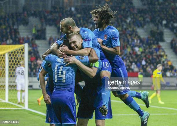 Players Arsenal FC celebrate a goal during the UEFA Europa League group H match between BATE Borisov and Arsenal FC at the BorisovArena stadium in...