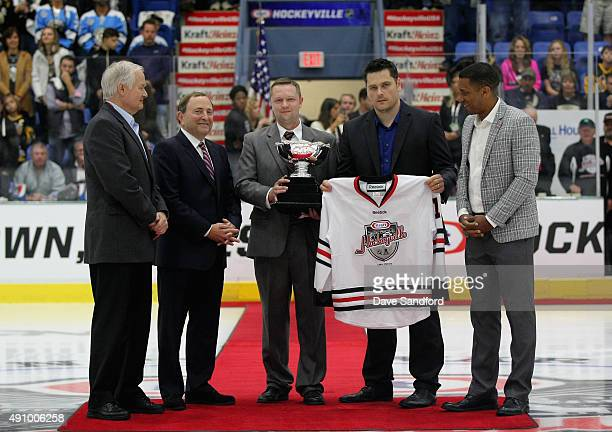 NHL Players' Association Executive Director Don Fehr NHL Commissioner Gary Bettman Kraft Hockeyville Organizng Committee's Chad Mearns and Jean...