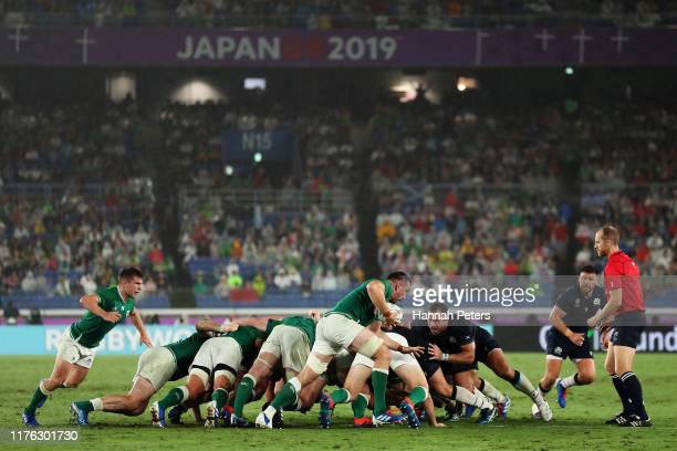 Players at a scrum during the Rugby World Cup 2019 Group A game between Ireland and Scotland at International Stadium Yokohama on September 22, 2019...