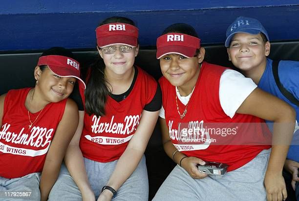 Players at Carlos Beltran's 'Harlem RBI' clinic at Shea Stadium in Queens New York on August 8 2006 Beltran pledged $500 for every RBI he hits