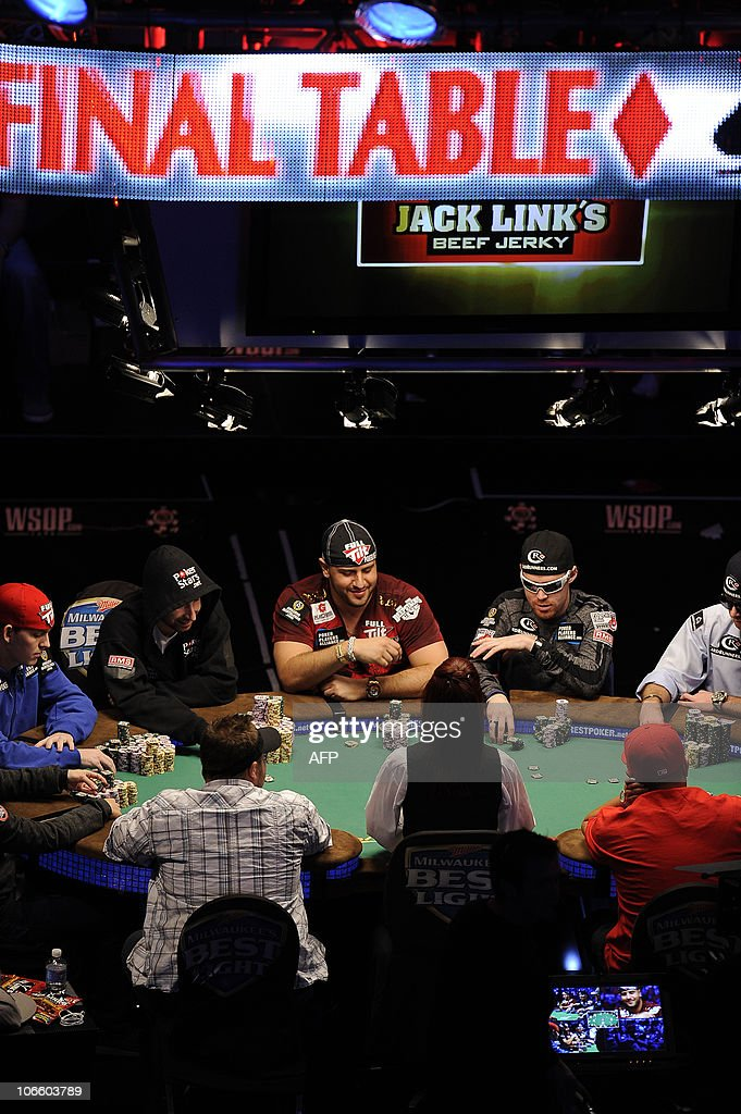 Players at the Final Table of the 2010 World Series of Poker in Las Vegas, Nevada November 06, 2010. The last of the 'November Nine' to remain at the table will win USD $8.94 million in the no-limit Texas Hold 'em tournament.