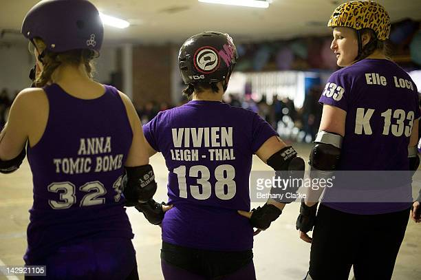 Players at the Rollergirls Roller Derby event on April 14 2012 in Oldham England The contact sport of Roller Derby involves two teams of four...