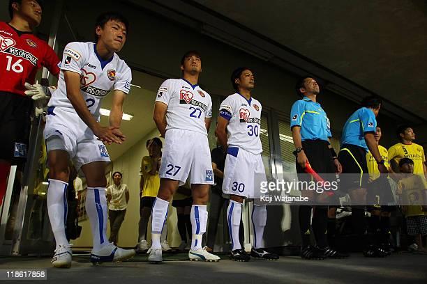 Players Atsushi Yanagisawa Park Ju Sung Jiro Kamata and Takuto Hayashi of Vegalta Sendai and Kashiwa Reysol line up prior to kick off of the JLeague...