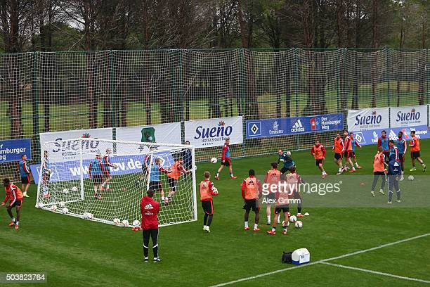 Players attend a Hamburger SV training session on day 2 of the Bundesliga Belek training camps at Sueno Deluxe Hotel Sports Center on January 7 2016...