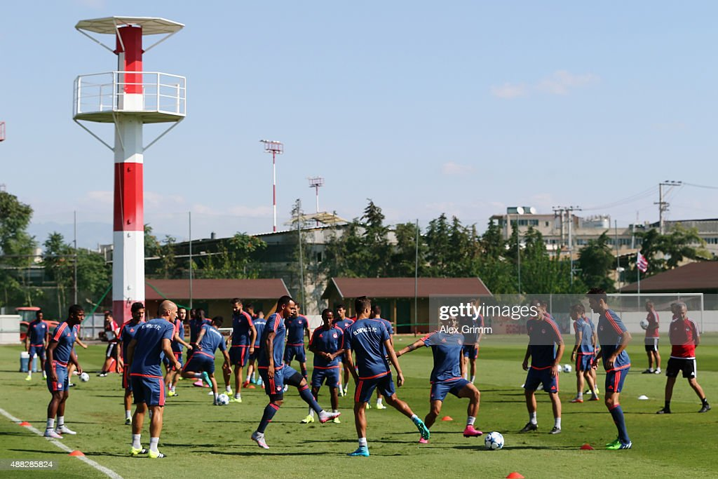 Players attend a Olympiacos FC training session ahead of their UEFA Champions League Group F match against Bayern Muenchen at Olympiacos training ground on September 15, 2015 in Athens, Greece.
