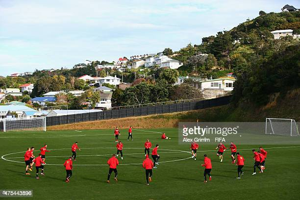 Players attend an Austria U20s training session at David Farrington Park on June 1 2015 in Auckland New Zealand