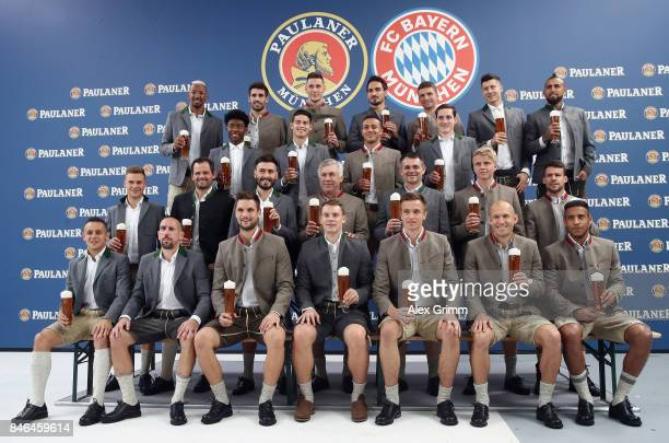 Players attend the FC Bayern Muenchen Paulaner photo shoot in traditional Bavarian lederhosen on September 13 2017 in Munich Germany