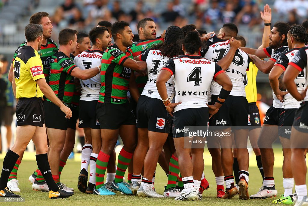 Players become involved in a melee during the round one NRL match between the South Sydney Rabbitohs and the New Zealand Warriors at Optus Stadium on March 10, 2018 in Perth, Australia.