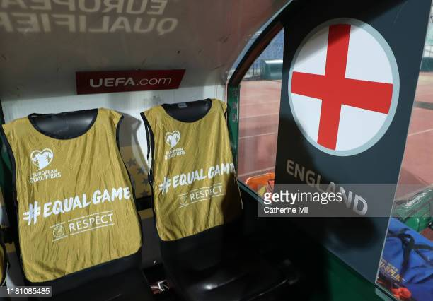 Players bibs with UEFA Equal game branding on the England bench during the UEFA Euro 2020 qualifier between Bulgaria and England on October 14, 2019...