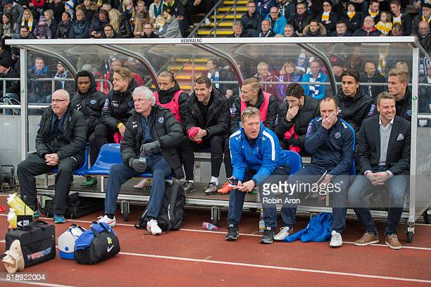 Players booth of Falkenberg FF with head coach Hans Eklund to the right before the Allsvenskan match between Falkenbergs FF and IFK Goteborg at...