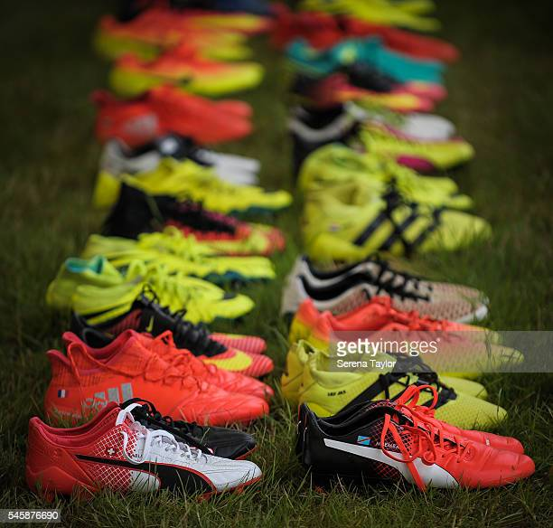 Player's boots sit on the grass prior to the Newcastle United Training Camp at Carton House on July 10 in Kildare Ireland