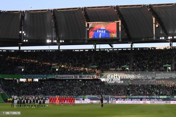 Players both Teams join the #gedENKEminute a minute's silence for deceased goalkeeper Robert Enke who died on 10 November 2009 before the the...