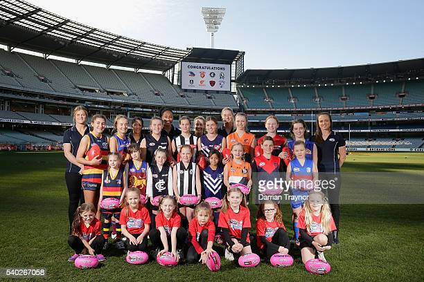 Players Brianna Davey Darcy Vescio Sabrina FrederickTraub Lauren Arnell Tayla Harris and Daisy Pearce pose during an AFL media opportunity to...