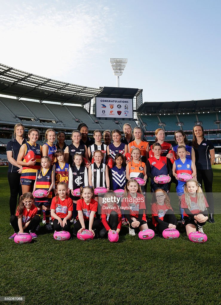 Players Brianna Davey, Darcy Vescio, Sabrina Frederick-Traub, Lauren Arnell, Tayla Harris, and Daisy Pearce, pose during an AFL media opportunity to announce the competing teams in next year's inaugural Women's National League at Melbourne Cricket Ground on June 15, 2016 in Melbourne, Australia.