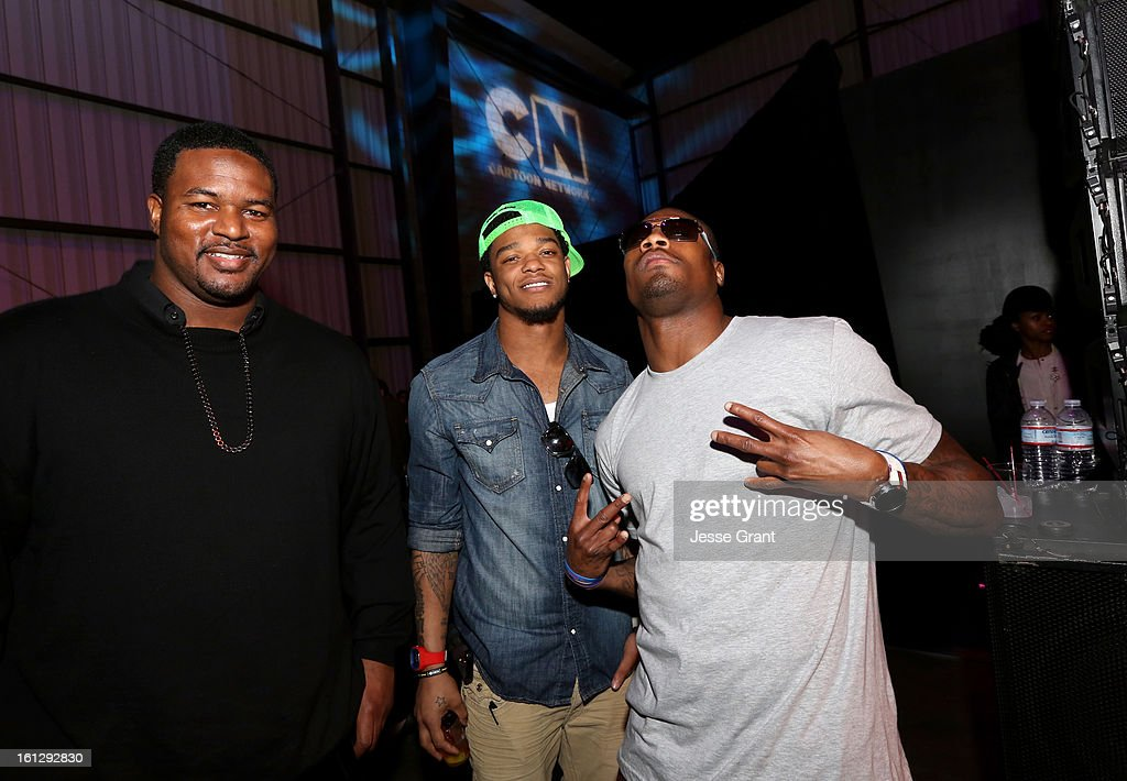 NFL Players Bryant McKinnie, Jimmy Smith and Jacoby Jones attend the Third Annual Hall of Game Awards hosted by Cartoon Network at Barker Hangar on February 9, 2013 in Santa Monica, California. 23270_005_JG_0052.JPG