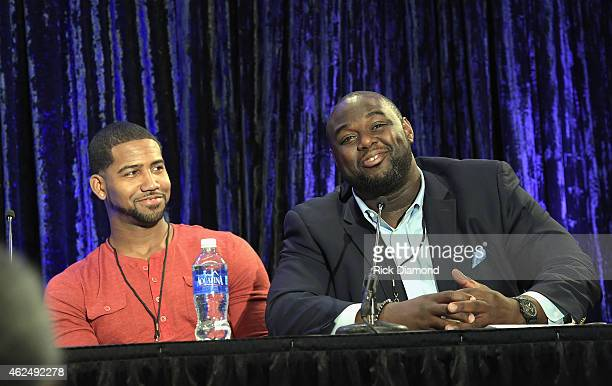 NFL players Cam Newton and Michael Gaines speak onstage at the 16th Annual Super Bowl Gospel Celebration Press Conference on January 29 2015 in...