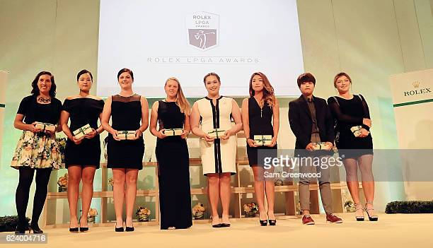 LPGA players Carlota Ciganda of Spain In Gee Chun of Korea Caroline Masson of Germany Brooke Henderson of Canada Ariya Jutanugran of Thailand Jenny...