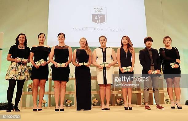 LPGA players Carlota Ciganda of Spain In Gee Chun of Korea Caroline Masson of Germany Brooke Henderson of Canada Ariya Jutanugran of Thailand Jenny...