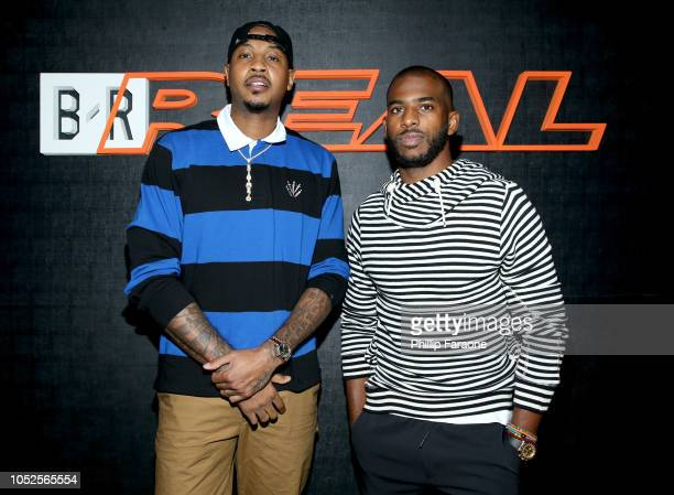 NBA players Carmelo Anthony and Chris Paul attends the B/Real Premiere Event at Kimpton La Peer Hotel on October 19 2018 in West Hollywood California