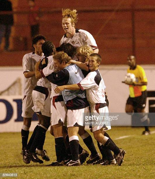 US players celebrate after defeating Costa Rica in the Concacaf final quadrangular for a place in the Under17 Peru 2005 World Cup 16 April 2005 at...