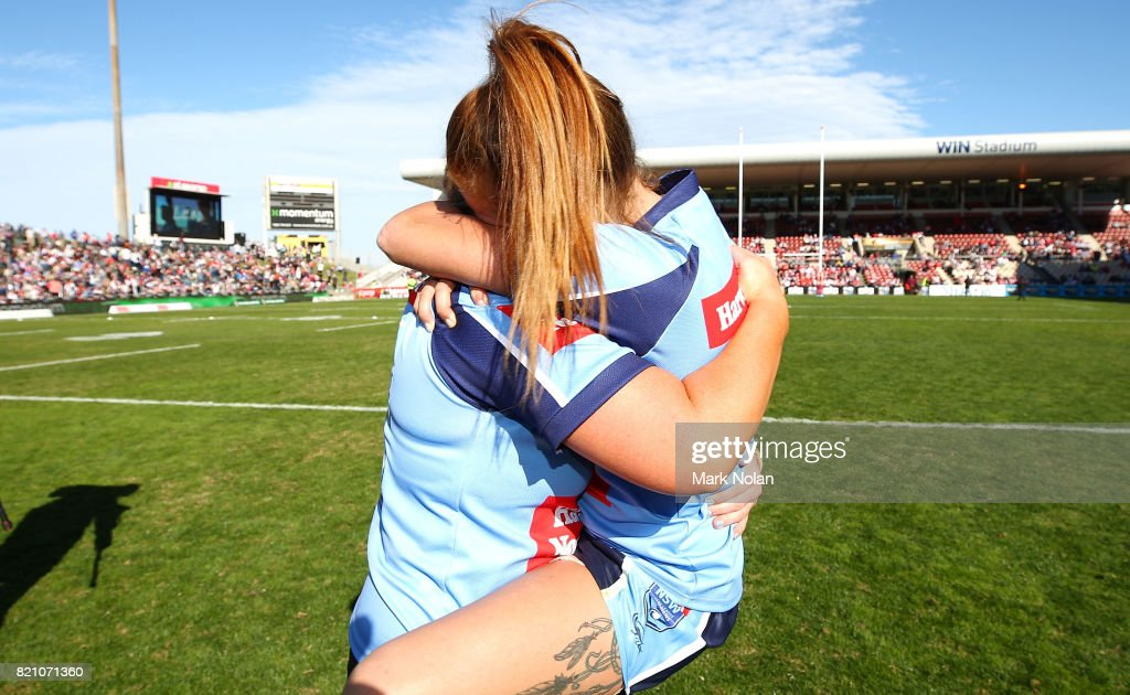 NSW players celebrate after winning the Women's Interstate Challenge match between New South Wales and Queensland at WIN Stadium on July 23, 2017 in Wollongong, Australia.