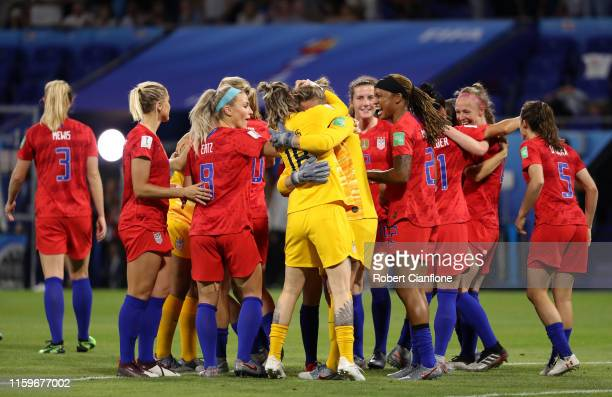 USA players celebrate following their sides victory in the 2019 FIFA Women's World Cup France Semi Final match between England and USA at Stade de...