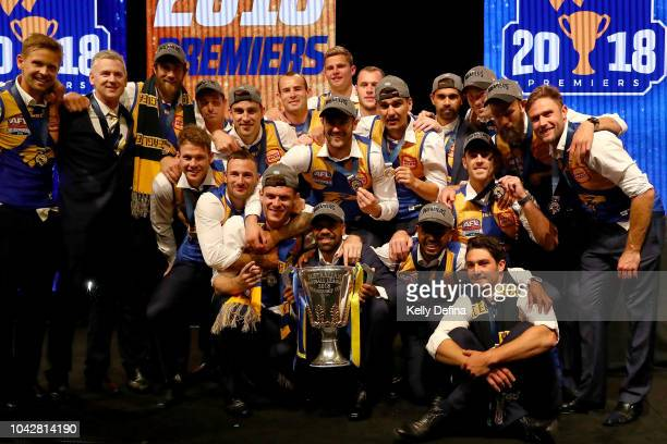 Players celebrate on stage during the West Coast Eagles AFL Grand Final post match function at Crown Melbourne on September 29 2018 in Melbourne...
