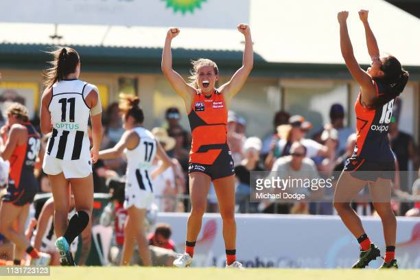 Players celebrate the win during the AFLW Rd 4 match between Collingwood and GWS at Morwekk Recreation Reserve on February 24, 2019 in Melbourne,...