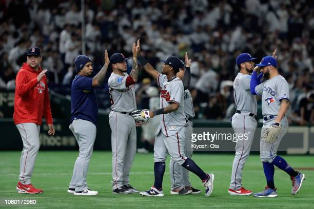 Players celebrate their 7-3 victory in the game three of Japan and MLB All Stars at Tokyo Dome on November 11, 2018 in Tokyo, Japan.