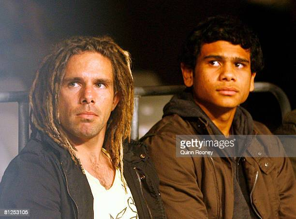 AFL players Chance Bateman and Cyril Rioli of the Hawthorn Hawks attend the WBA Super Middleweight title fight between Sam Soliman and Anthony...