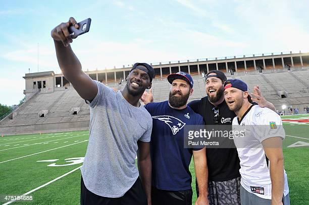NFL players Chandler Jones Rob Ninkovich Dane Fletcher and Julian Edelman attend the Tom Brady Football Challenge for The Best Buddies Challenge...