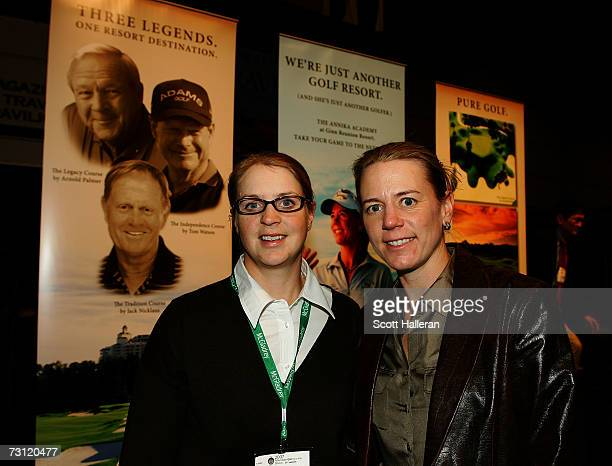 LPGA players Charlotta and Annika Sorenstam of Sweden pose at the Travel Pavilion during the 2007 PGA Merchandise Show at the Orange County...