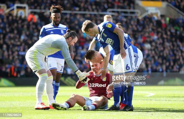 Players check on Aston Villa's Jack Grealish after being attacked by a fan Birmingham City v Aston Villa Sky Bet Championship St Andrew's Trillion...