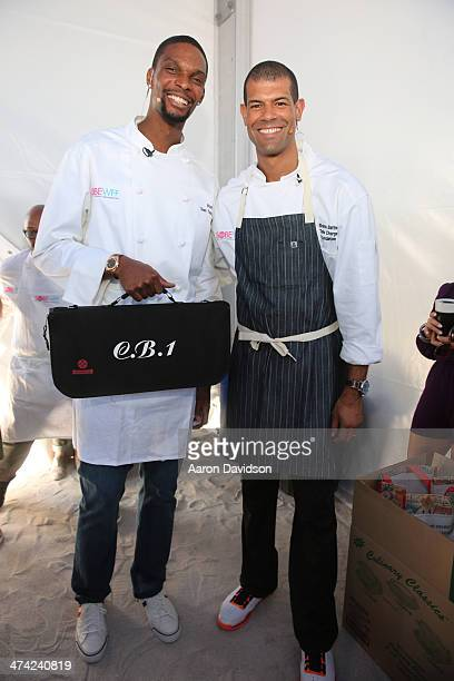 NBA players Chris Bosh and Shane Battier attend KitchenAid® Culinary Demonstrations during the Food Network South Beach Wine Food Festival at Grand...