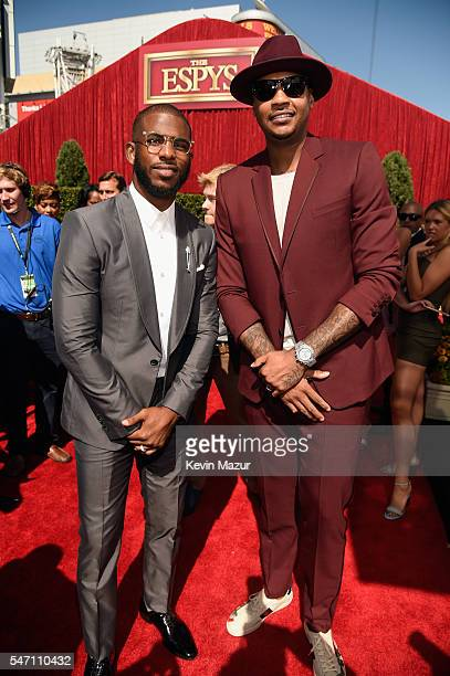 NBA players Chris Paul and Carmelo Anthony attend the 2016 ESPYS at Microsoft Theater on July 13 2016 in Los Angeles California