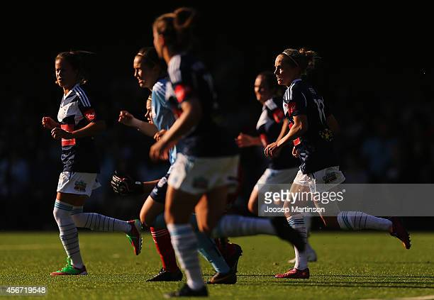 Players clear the box during the round four WLeague match between Sydney and Melbourne at Lambert Park on October 6 2014 in Sydney Australia