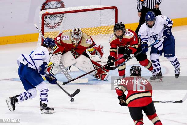 Players compete during the 2017/2018 Canadian Women's Hockey League CWHL match between Kunlun Red Star WIH and Toronto Furies at Shenzhen Dayun Arena...