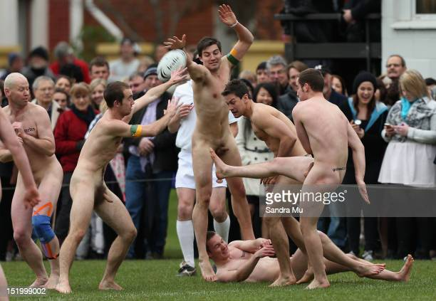 Players compete during the annual Nude rugby match between the New Zealand Nude Blacks and the South African Springbox at AlhambraUnion Rugby Club on...